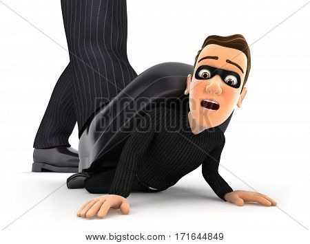 3d big foot crushing thief illustration with isolated white background