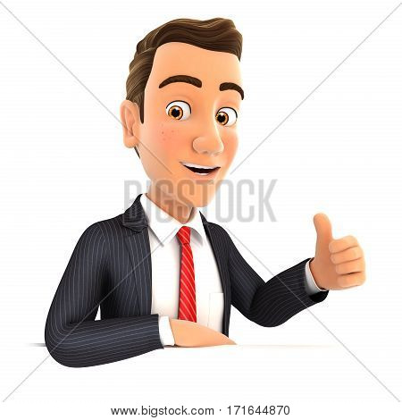 3d businessman with his elbow on the wall and thumb up illustration with isolated white background