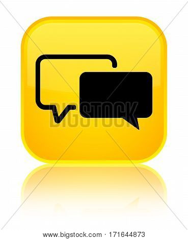Testimonials Icon Shiny Yellow Square Button