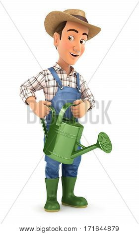 3d farmer holding watering can illustration with isolated white background