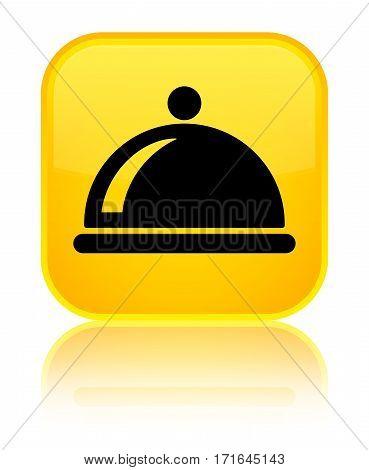 Food Dish Icon Shiny Yellow Square Button