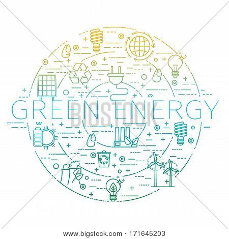 Outline set - green energy, eco, recycle icons for your design