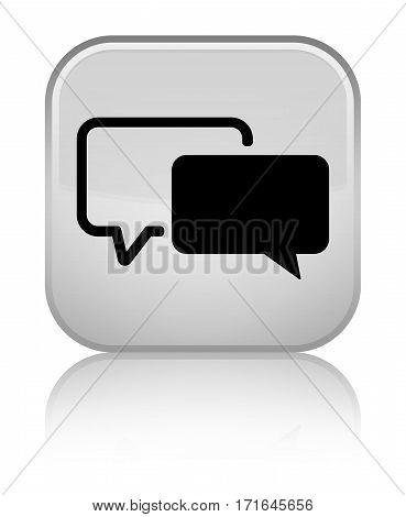 Testimonials Icon Shiny White Square Button