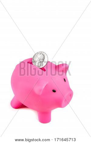 Piggybank with a United States Quarter coin