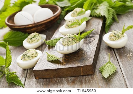 Boiled Eggs Stuffed With Nettles