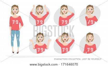 Set of emotions and gestures to the young woman. Girl in a different mood. Womens emotions, woman in everyday life.