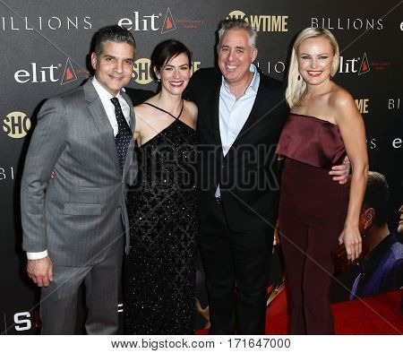 (L-R) David Levien, Maggie Siff, Brian Koppelman and Malin Akerman attend the