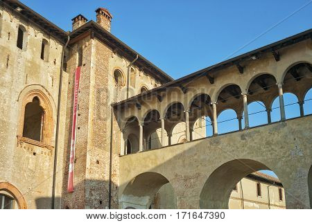 View of the external walls of Ducale castle, reinassance monument in Vigevano (Lombardy, Northern Italy). Color image.