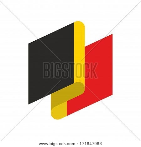Belgium Flag Ribbon Isolated. Belg Tape Banner. National Symbol Of Countrys Public