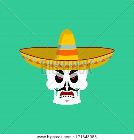 Skull In Sombrero Angry Emoji. Mexican Skeleton For Traditional Feast Day Of The Dead.