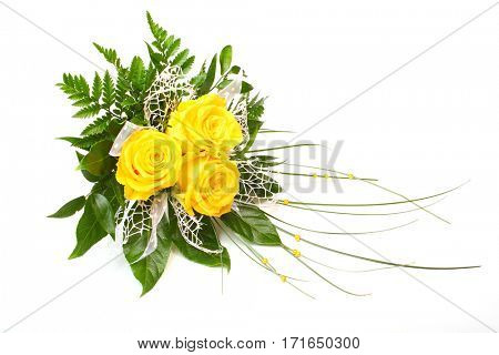 Yellow roses. Bunch of flowers isolated on white background. Great decoration for wedding invitation.