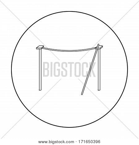 Tightrope icon in outline style isolated on white background. Circus symbol vector illustration.