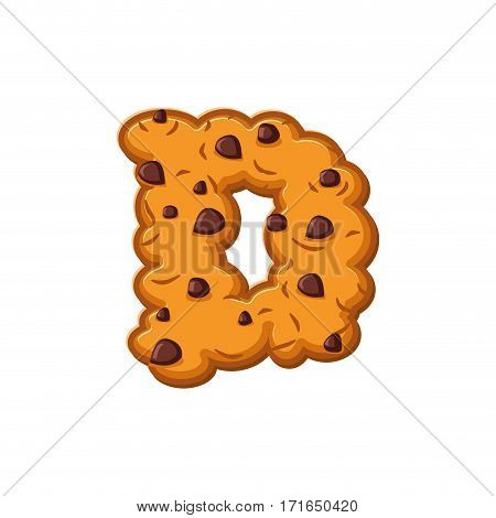 D Letter Cookies. Cookie Font. Oatmeal Biscuit Alphabet Symbol. Food Sign Abc