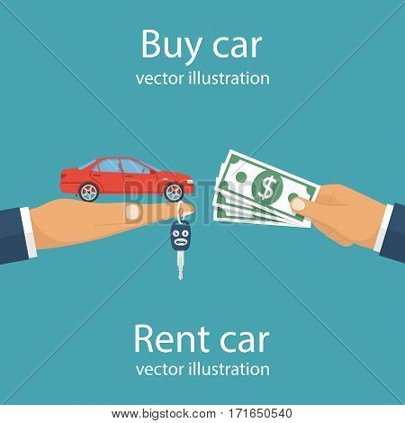 Buy car, rent concept. Vector illustration flat design. Isolated on background. Man trading agent holds in palm of car and key on finger, buyer client with money in hand. Best offer on the car price.