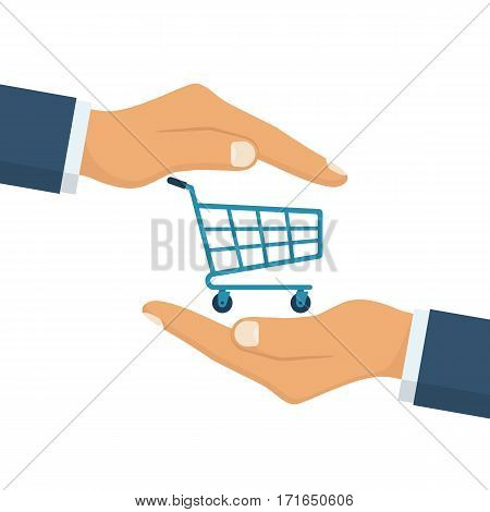 Shopping protection. Insurance agent keeps shopping carts in hands. Providing protection. Trolley icon. Vector illustration flat design. Isolated on white background.