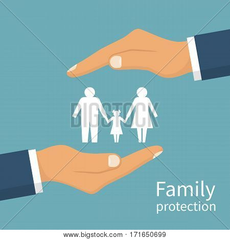 Family protection. Insurance concept. Insurance agent holds in hands family symbol. Vector illustration flat design. Isolated on white background. Health care, safety. helping. Paper chain people.