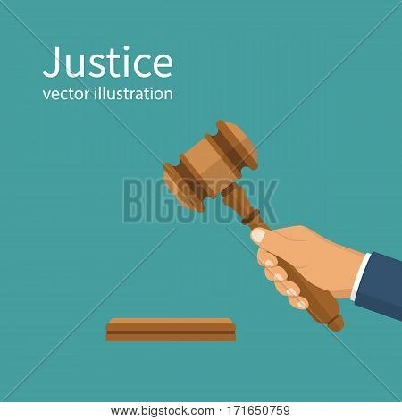 Justice. Hand holding judges gavel. Vector illustration flat style design. Isolated on background. Symbol of law. Businessman in a suit holds an auction.