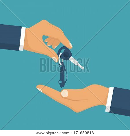 Give the car key. Take auto key.  Buy, rent a vehicle. Vector illustration flat design. Isolated on background. Car pass deal.