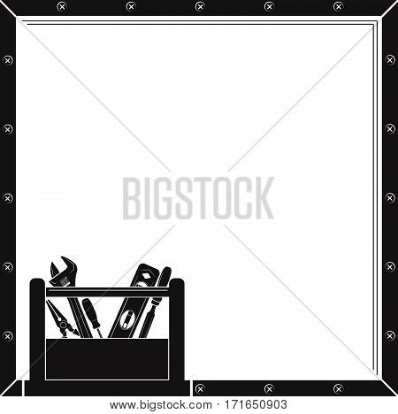 Frame with construction tools in toolbox. Screwdriver, adjustable wrench, long nose pliers, chisel, level.