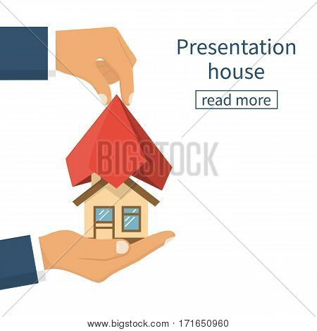 Presentation home. House hold in hand covered red silk cloth. Opening construction concept. Vector illustration flat design. Isolated white background. Estate transaction. Show new build house.
