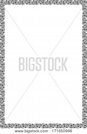 Ornate rectangular black frame. A4 page proportions.
