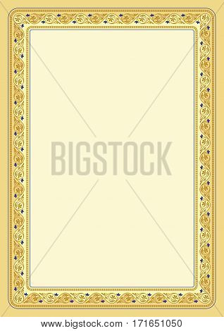 Ornate rectangular color text frame on light background, leaves and vignettes. A4 page proportions.