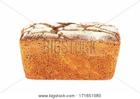 Rye-wheat pan bread closeup isolated on white background
