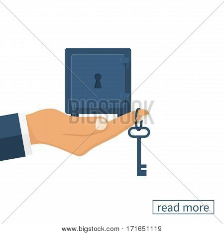Key to money. Hold safe in hand, to give the key to the lock. Access to success. Way to money. Vector illustration flat design. Isolated on white background. Opportunity concept.