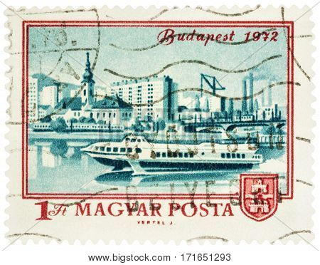 MOSCOW RUSSIA - February 12 2017: A stamp printed in Hungary shows Budapest and Danube river series