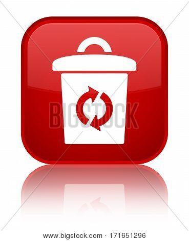 Trash Icon Shiny Red Square Button