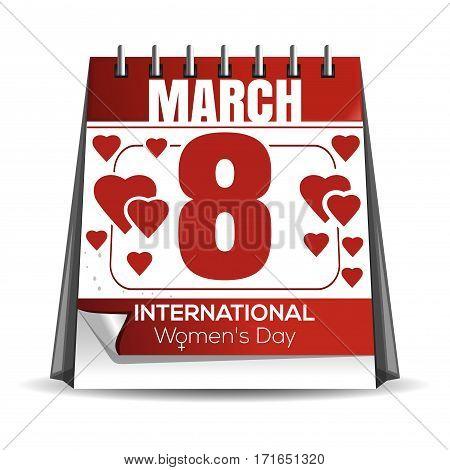 Women day calendar. 8 March calendar. International Women's Day. Holiday date in the calendar. Desktop calendar isolated on white background. Vector illustration