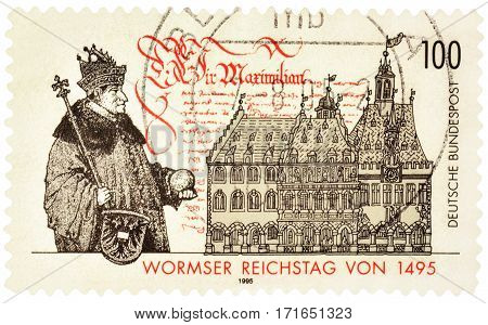 MOSCOW RUSSIA - February 16 2017: A stamp printed in Germany shows Diet of Worms dedicated to the 500th anniversary of the Worms Reichstag circa 1995