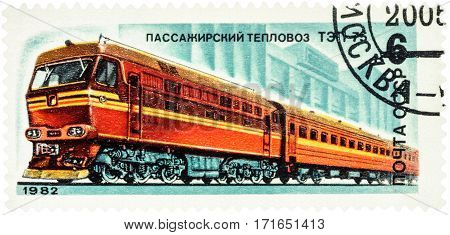 MOSCOW RUSSIA - February 12 2017: A stamp printed in USSR (Russia) shows Soviet passenger locomotive TEP 7 series