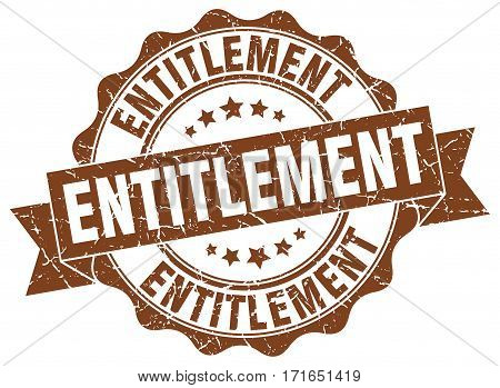 entitlement. stamp. sign. seal. round. retro. ribbon