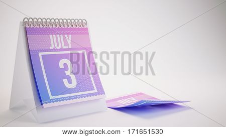 3D Rendering Trendy Colors Calendar On White Background - July 3