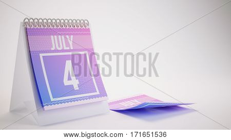 3D Rendering Trendy Colors Calendar On White Background - July 4