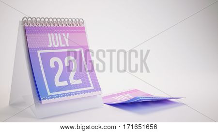3D Rendering Trendy Colors Calendar On White Background - July 22