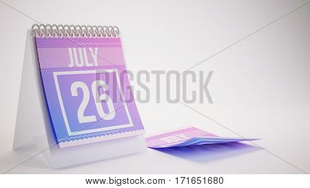 3D Rendering Trendy Colors Calendar On White Background - July 26