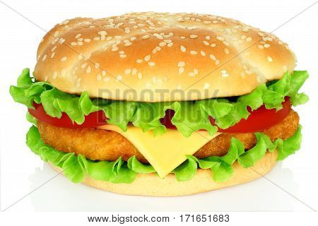 Big hamburger with chicken cutlet on white background