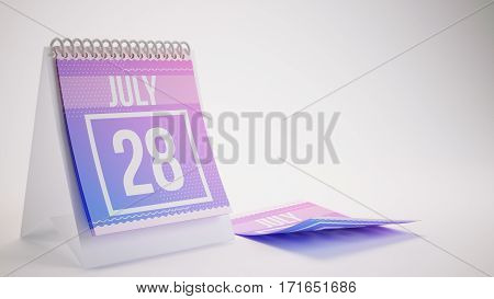 3D Rendering Trendy Colors Calendar On White Background - July 28
