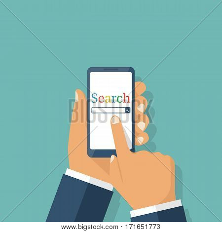 Man holding smartphone in hand. Mobile app for phones. Search on the internet. Vector illustration flat design. Isolated on background. Searching concept. Modern technologies.