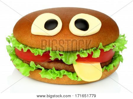 Big funny hamburger whith cheese eyes and beef cutlet on white background