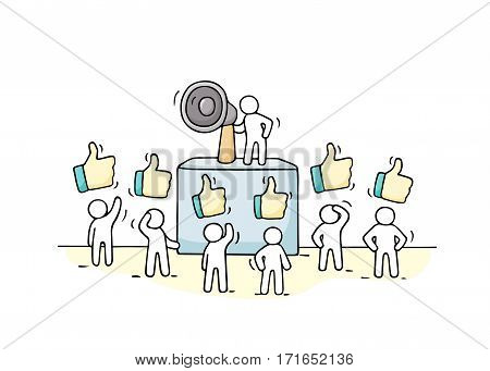 Sketch crowd of little people with like signs. Doodle cute miniature with leader on the tribune and megaphone. Hand drawn cartoon vector illustration for business design.