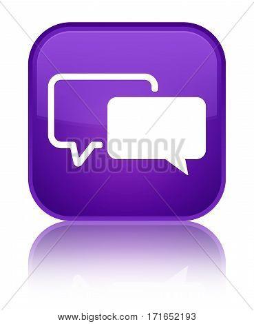 Testimonials Icon Shiny Purple Square Button