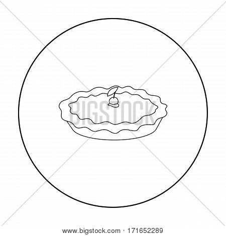 Thanksgiving pie icon in outline style isolated on white background. Canadian Thanksgiving Day symbol vector illustration.