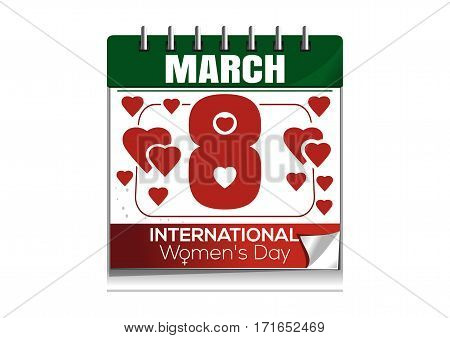 Calendar with the date of March 8 isolated on white background. International Women's Day. Women day calendar. Vector illustration