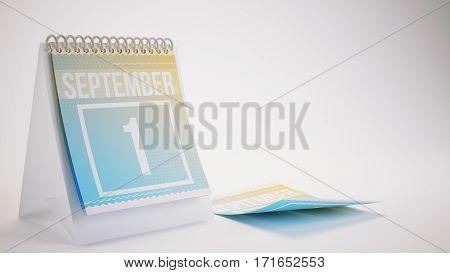3D Rendering Trendy Colors Calendar On White Background - September 2