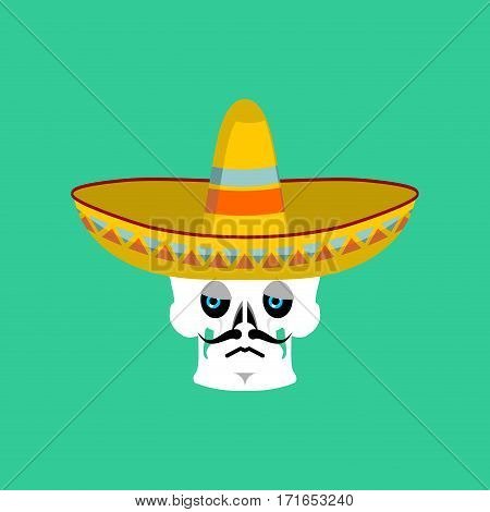 Skull In Sombrero Sad Emoji. Mexican Skeleton For Traditional Feast Day Of The Dead.