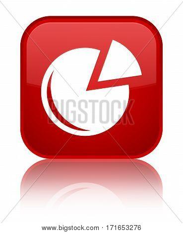 Graph Icon Shiny Red Square Button