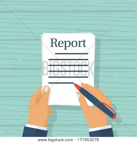 Businessman writes report concept. Vector illustration flat design. Isolated on wooden background. Man holds a sheet of paper. Pen in hand. Paperwork.